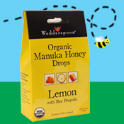 Wedderspoon Organic Manuka Honey Drops – Lemon with Bee Propolis