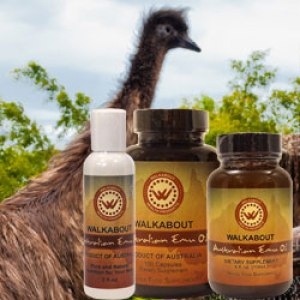 Picture of Walkabout Emu Oil in all three forms on a background picture of an Emu.