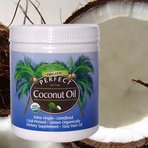 Picture of Perfect Coconut Oil on a background of coconuts.