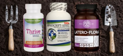 Picture of three kinds of soil-based probiotics, Just thrive Probiotics, Prescript Assist Probiotics and Latero Flora Probiotics, on a background of dirt with two gardening tools on the side that mimic a fork and spoon.