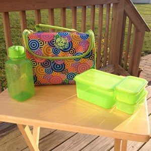 Picture of New Wave Enviro's Litter Free Lunch Box including all three BPA-free containers and water bottle.