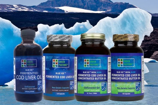 Picture of Green Pasture Fermented Cod Liver Oil products on a background of Blue Ice.