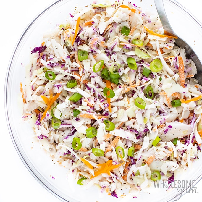 low-carb coleslaw from wholesum yum is a tasty Keto And Paleo Side Dish To Bring To Your Summer BBQ