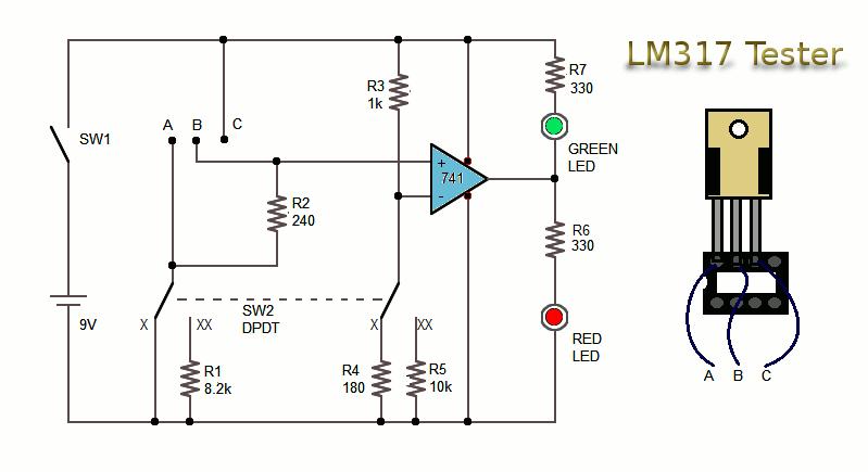 Testator circuit of LM317