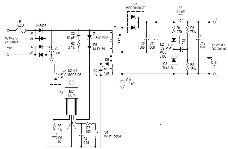 Simple Supply Circuit Switched 15V x 6A