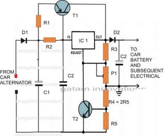 Circuito estabilizador de tensão para Alternadores