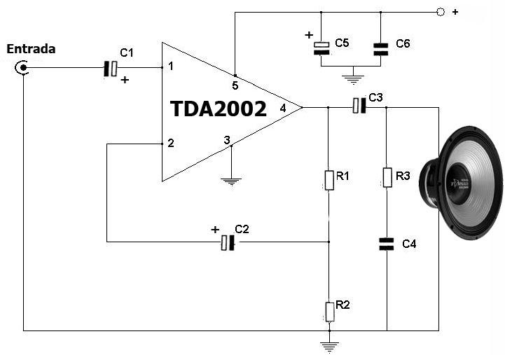 Circuito amplificador con integrado TDA2002 El circuito