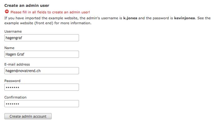 Admin User erstellen