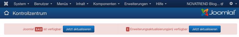 Joomla - Hinweis auf Updates im Administrationsbereich