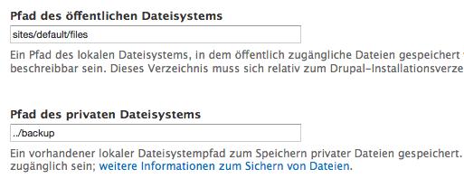 Private und öffentliche Dateiverzeichnisse in Drupal