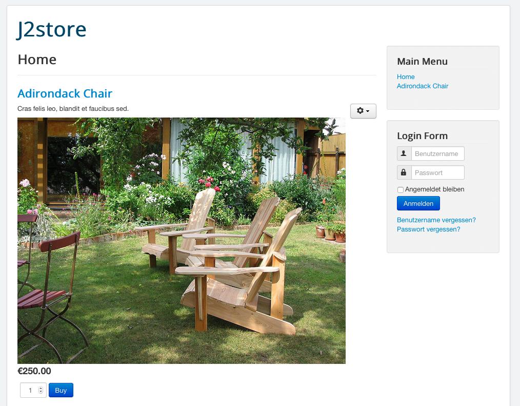 J2Store - Produkt auf der Website