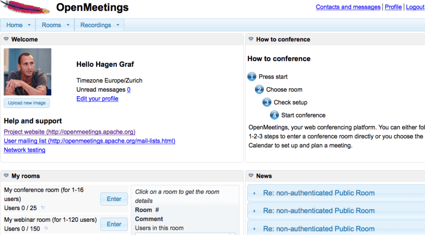 OpenMeetings - Dashboard
