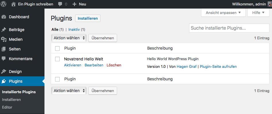 WordPress - Neues Plugin im Dashboard