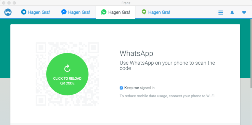 WhatsApp Tab in Franz
