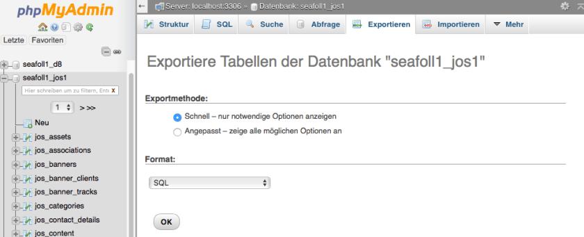 phpMyAdmin Datenbank Export