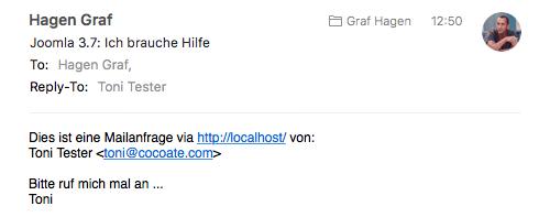 E-Mail aus dem Joomla Kontaktformular