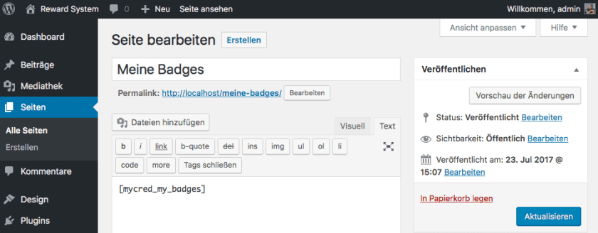 Shortcode in WordPress Seite