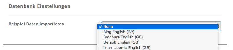 Joomla - Datenbank Einstellungen