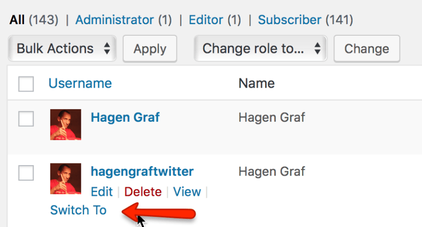 Ich bin als Hagen Graf angemeldet und kann zum User hagengraftwitter wechseln