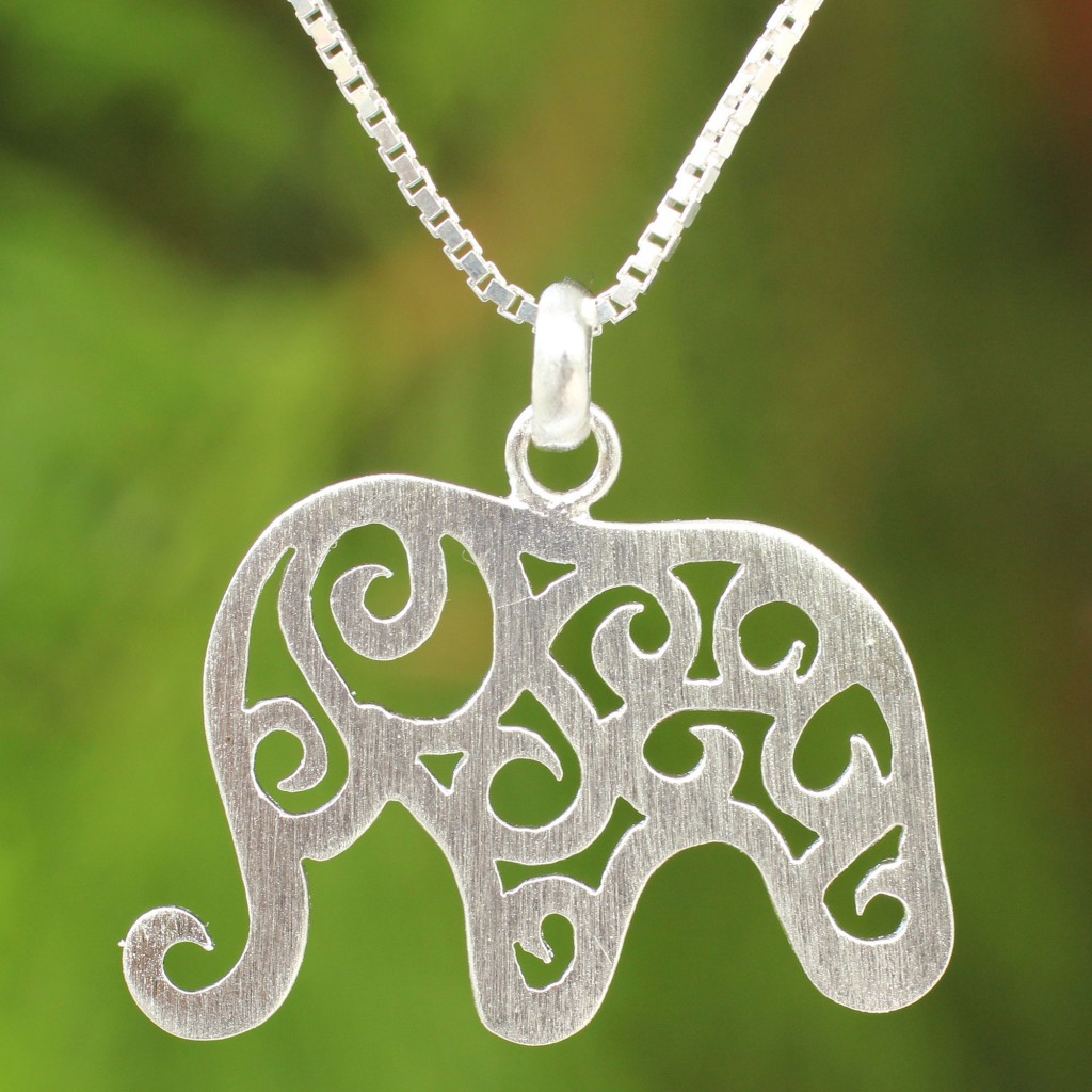 Brushed Sterling Silver elephant Pendant Necklace. Chain Handcrafted NOVICA Art Thailand