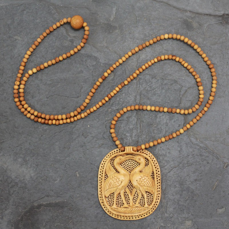 Wood pendant necklace, 'Swan Kiss' Handcrafted Art Beaded NOVICA