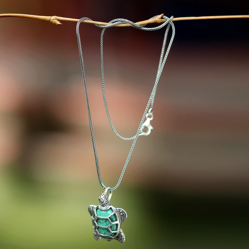 Sterling Silver and Reconstituted Turquoise Necklace, 'Chelonia Turtle Handcrafted NOVICA Art