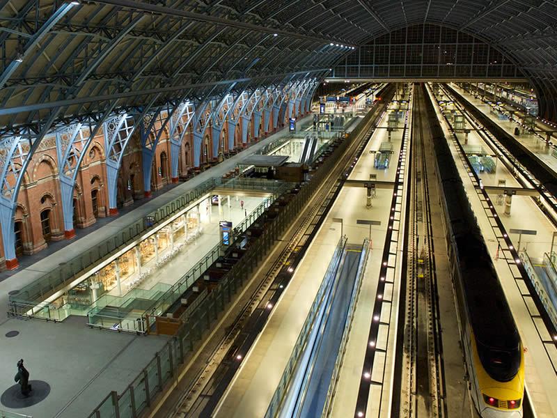 Me in my element in the great St Pancras International Station in London.