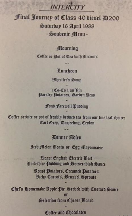 InterCity's final journey souvenir train pun menu, 16th April 1988. NRM Ref: ALS2/97/A/5