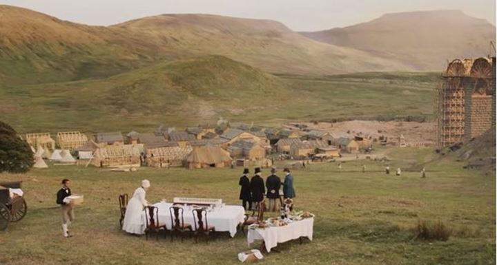 The Ribblehead Viaduct and Jericho Settlement as depicted in ITV's drama