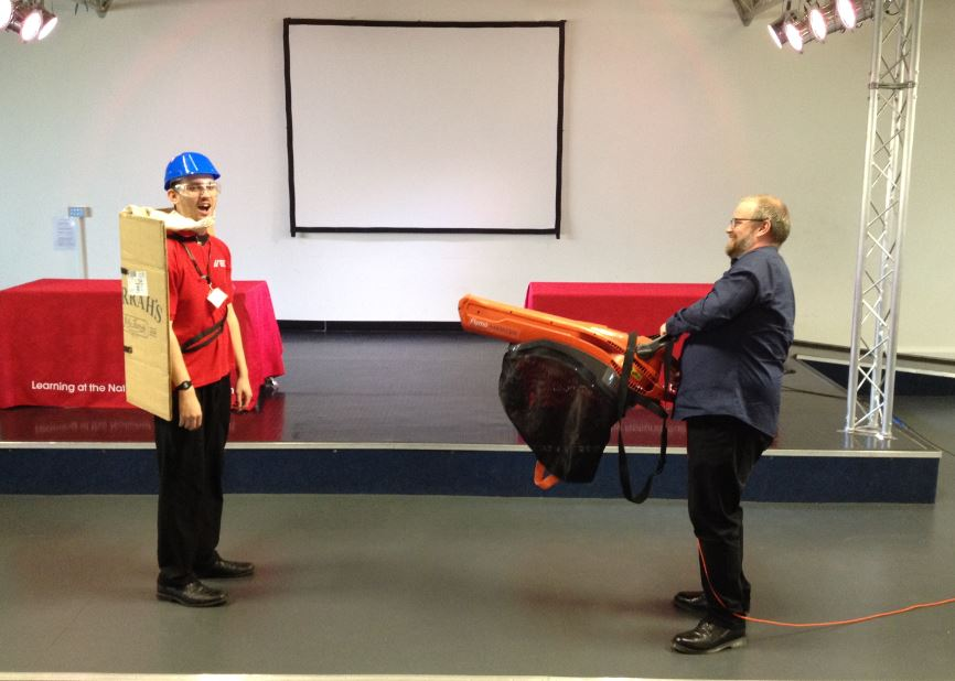 Shaun with his leaf blower and Phil with a beta version of the 'kite'