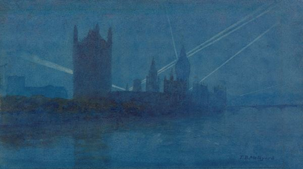 ('Search Lights over London', 1917, T B Meteyard - This item is available to be shared and re-used under the terms of the IWM Non Commercial Licence)