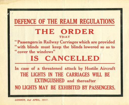 Defence of the Realm Act Poster, National Railway Museum Archive, 1917