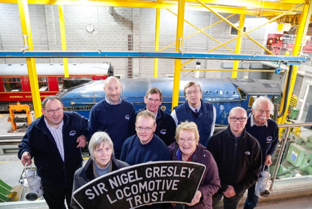 Members of the SNGLT (Sir Nigel Gresley Locomotive Trust) in our works balcony the day the locomotive arrived in The Works.
