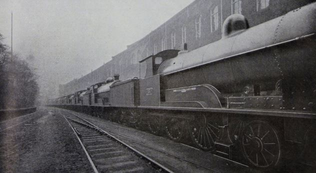 The named L&NWR locomotives parked outside Crewe Works. No.27 General Joffre is in the foreground. (L&NWR Gazette, April 1916)