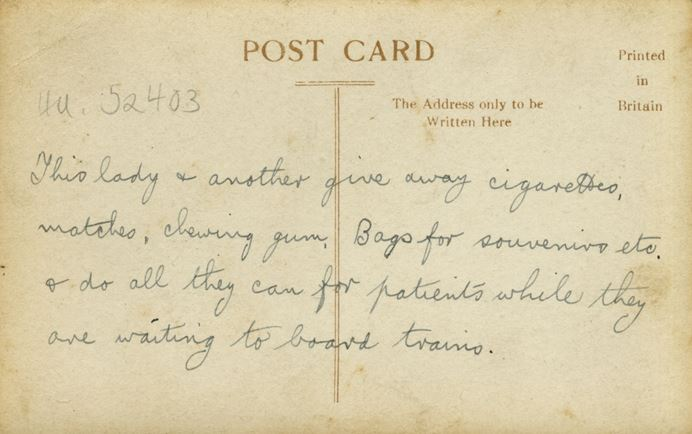A postcard from Owen Willis describing the help offered by the volunteers.