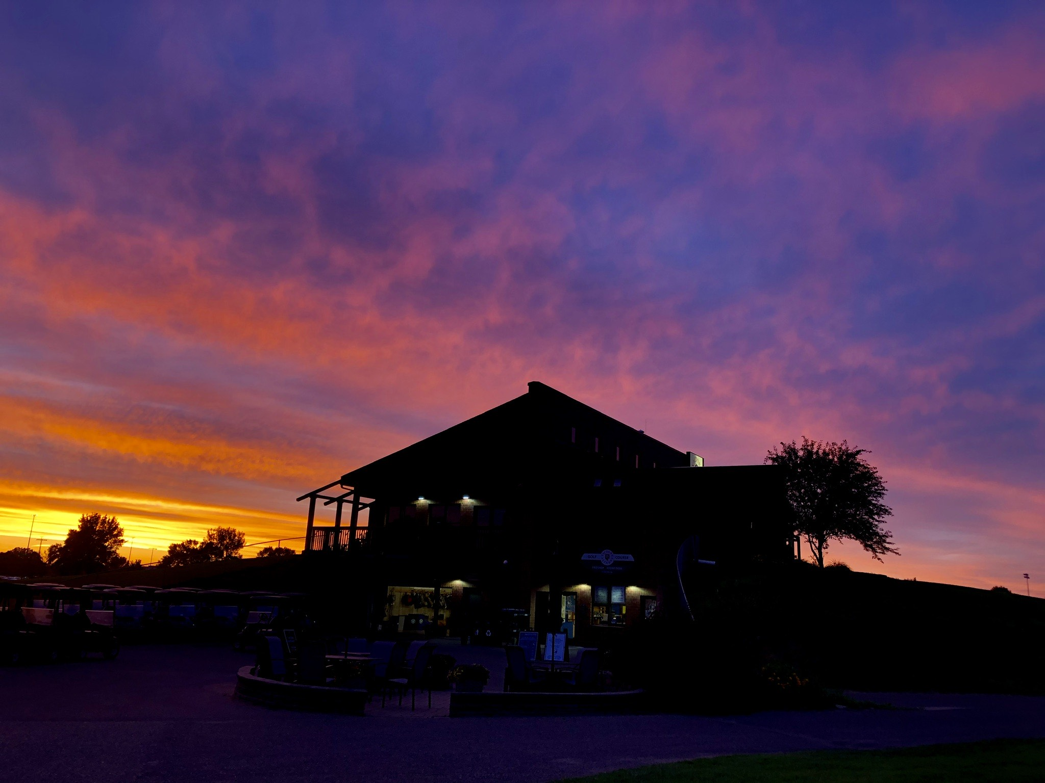 Shades of purple, pink and yellow filled the sky above the Victory Links Clubhouse. The colors created a memorable sunset.