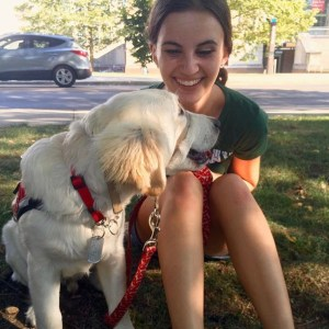 Roku, animal-assisted therapy dog, and Erika Baldwin, with The Ohio State University's (OSU) Aphasia Initiative.