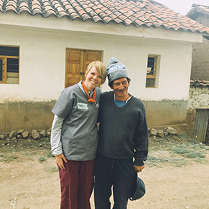 Bailey Neuhaus with a Peruvian villager.