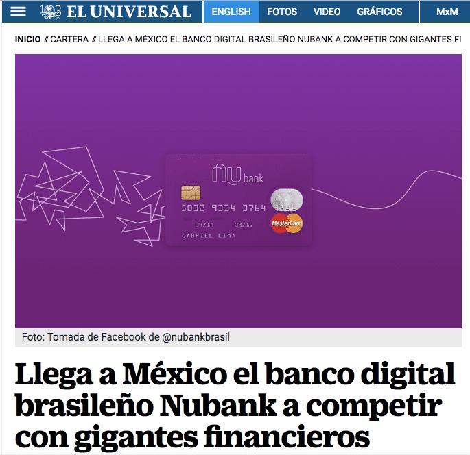 El Universal : Nubank en México