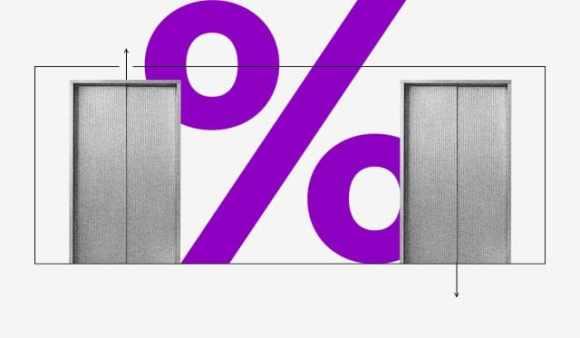 Dos puertas automáticas de ascensor cerradas y en el medio un gran signo de porcentaje en color violeta. De una puerta sale una flecha hacia arriba; de la otra, una flecha hacia abajo.