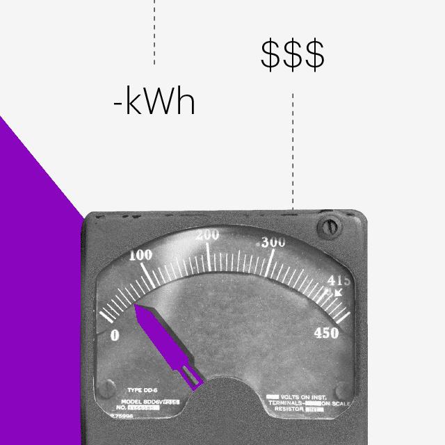 Hacks para ahorrar en casa: medidor de electricidad y símbolo de kilowat /hora