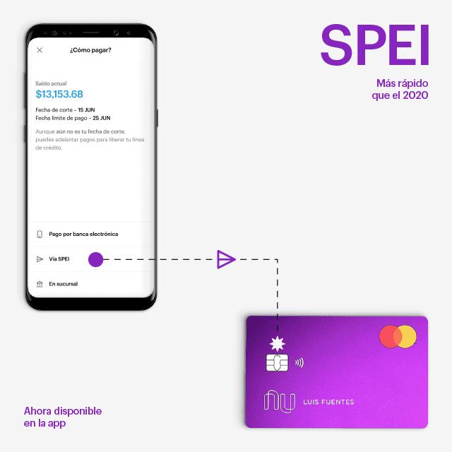 Tarjeta de crédito Nu anuncia pagos con SPEI