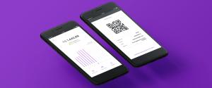 Imagens de dois celulares com as telas de rendimento e QRCode da NuConta