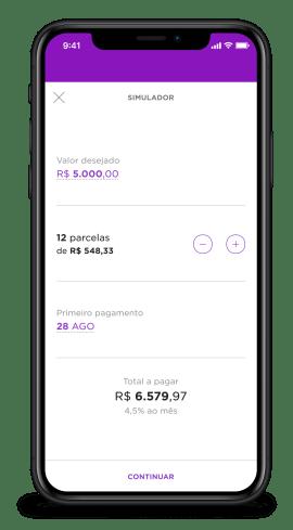 Imagem de um celular com a página de simulação de empréstimo aberta. O cliente coloca o valor desejado de cinco mil reais e vê o valor das parcelas em 12 vezes