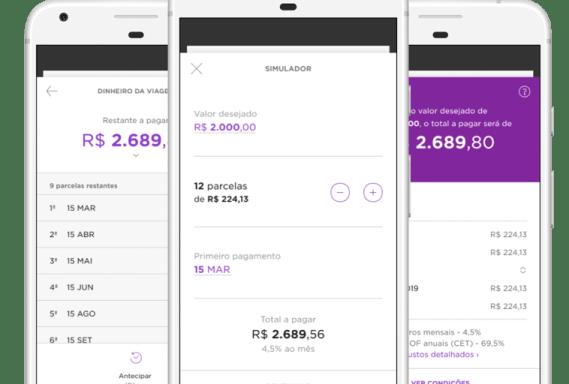 Três celulares com telas do aplicativo Nubank abertas em três etapas diferente do processo de pedir um empréstimo