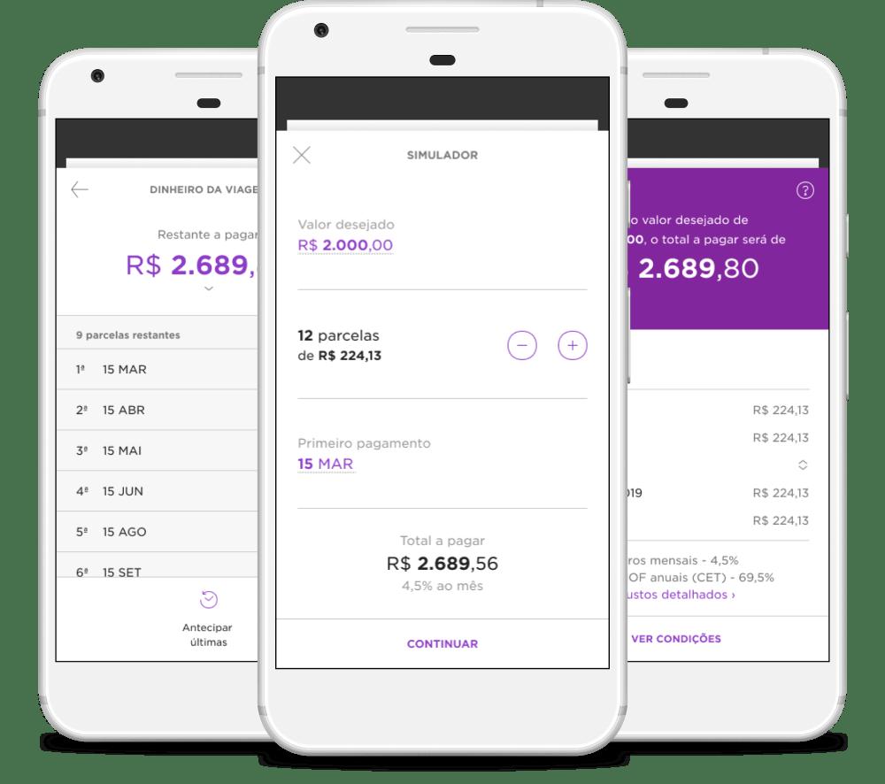 Tr6es celulares com telas do aplicativo Nubank abertas em três etapas diferente do processo de pedir um empréstimo