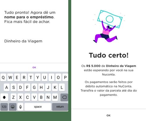 Tela do aplicativo Nubank mostrando a função de renomear o seu empréstimo para facilitar o controle
