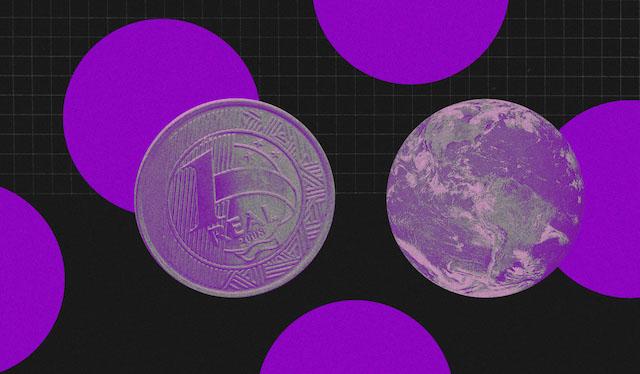 O que é score: ilustração mostra círculos roxos e moedas de um Real