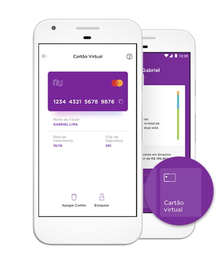 Imagem mostra um celular com destaque para o canto inferior direito, no qual é possível pedir o cartão virtual pelo app do Nubank