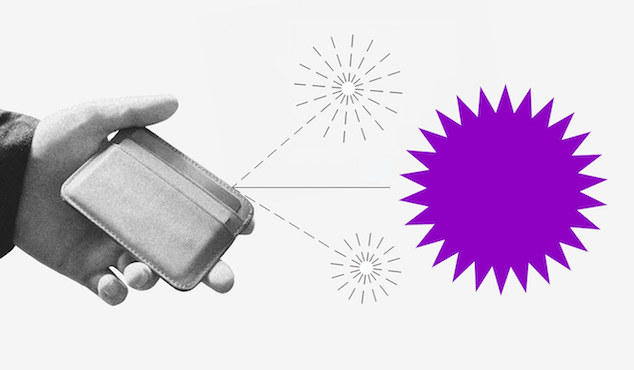 Colagem de uma mão segurando uma carteira e algumas faíscas saindo da mesma, uma delas roxa.
